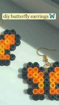 Melt Beads Patterns, Easy Perler Bead Patterns, Perler Bead Templates, Diy Perler Beads, Perler Bead Art, Beading Patterns, Diy Crafts To Do, Diy Crafts Jewelry, Bracelet Crafts