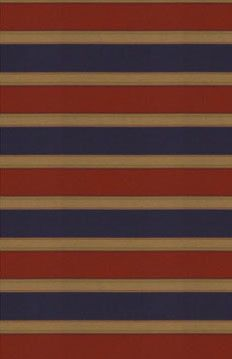 Bold #stripes are a great choice for upholstery items with relatively simple, straight lines.   The fabric Galloway Navy in Tile Red Calico Blog! Image: calicocorners.com