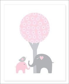 8x10 gray and pink nursery wall decor. Children's prints. Elephant kids wall art. Wall decor for girls.