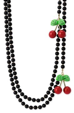 Betsey Johnson beaded long strand necklace with red cherries.