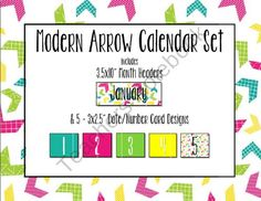 Modern Arrow Calendar Set from Crystal Dean on TeachersNotebook.com (26 pages)