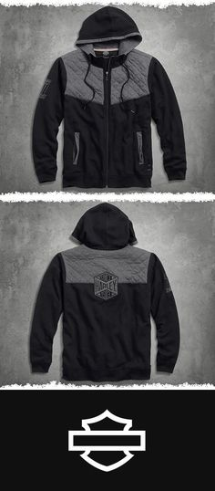 Washed soft so it feels good on day one. | Harley-Davidson Men's Quilted Yoke Hoodie