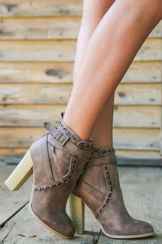 On Edge Taupe Ankle Boots at reddressboutique.com