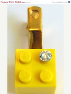 ON SALE Yellow LEGO R brick 2x2 with a Diamond by MademoiselleAlma, $6.99