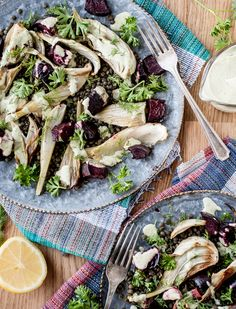 Roasted Fennel and Beet Salad with Tahini Herb Sauce