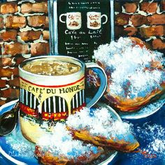 New Orleans Art Art Print featuring the painting Beignets And Cafe Au Lait by Dianne Parks Beignets, Louisiana Art, New Orleans Art, New Orleans French Quarter, Thing 1, Jackson, Wood Bars, Unique Recipes, Creative Art