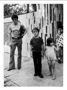 A rare photo of Bruce, Brandon, & Shannon outside there Kowloon home.