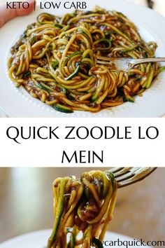 Easy keto zucchini noodle lo mein stir fry recipe with only a few ingredients an. Easy keto zucchini noodle lo mein stir fry recipe with only a few ingredients and a few minutes to make. The perfect Asian-inspired dinner idea, all keto and low carb! Clean Eating, Healthy Eating, Stir Fry Low Carb, Bolo Vegan, Cena Keto, Diet Recipes, Healthy Recipes, Low Carb Zucchini Recipes, Paleo Food
