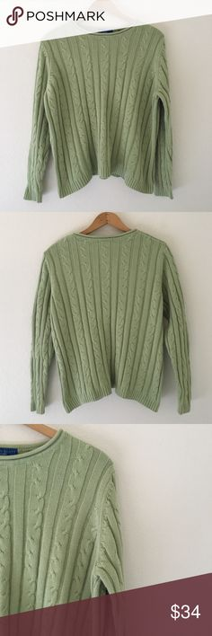 sᴀɢᴇ&ᴍᴏss sᴡᴇᴀᴛᴇʀ • Karen Scott. • Size Large. • 100% cotton, sturdy, medium to thick, high quality cable knit sweater. Not itchy! • 10/10 Like new condition. • Prices are just starting points & absolutely all reasonable best offers are more than welcome. Karen Scott Sweaters