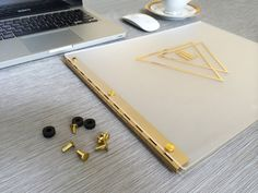 Portfolio Frosted Clear with Gold Hinges 11x14 by SleekPortfolios