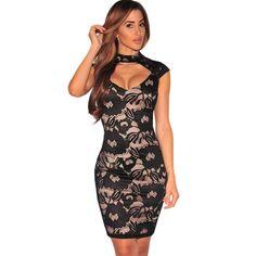 FGirl Ukraine Office Dress Party Dresses for Women Black Floral Lace Nude Illusion Peep Hole Dress FG10402