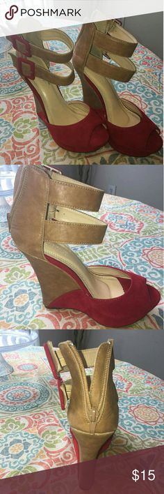 LILIANA Red and Tan Women's shoe. Pre-owned women's shoe in great condition with a few signs of wear. Last 4 pictures show areas of wear. Feel free to make an offer. Liliana Shoes Wedges