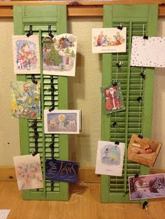 Pocket Full of Posies: Christmas crafting, old shutters into Christmas card holders.