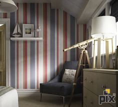 A fabulous lifestyle bedroom shot playing on the nautical theme. Blue, cream and red striped wallpaper in an oak bedroom with telescope. www.setvisionspix.co.uk