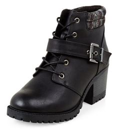 Wide Fit Black Contrast Cuff Lace Up Boots