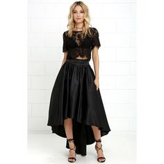 Modern Mystery Black Satin High-Low Skirt ($93) ❤ liked on Polyvore featuring skirts, black, layered skirt, short front long back skirt, satin sash belt, satin skirt and short in front long in back skirt
