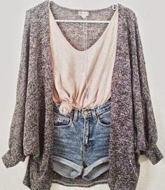 Speckled Sweater With Denim Shorts And Light Pink Singlet