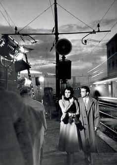 Director Vittorio De Sica filming Jennifer Jones and Montgomery Clift on the set of Stazione Termini, 1953.
