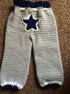Handmade. Crochet. Dallas Cowboys pants. Size 24 months.