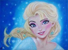 Disney´s Elsa Frozen pastel drawing on pastel paper 24x30  https://www.facebook.com/BrauckmannsART