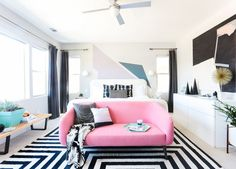 """Homepolish Interior Design   The <a href=""""http://www.cb2.com/rue-apartment-sofa/s352385"""" target=""""_blank"""">pink sofa is really the star of the room</a>."""