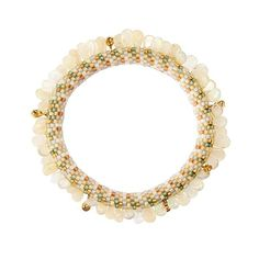 """Cylindrical glass beads, Ethiopian opal beads, 18K yellow gold and diamond charms Lyda pattern in white, gold, light neutrals and pale green, with a line of flat teardrop shaped Ethiopian opals and 18K yellow gold and diamond charms. • 7.5"""" (19.05cm) length, .38"""" (.96cm) width • One of a kind"""
