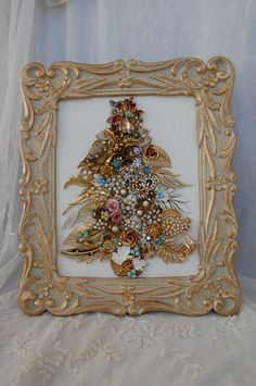 Vintage Jewelry Framed Christmas Tree ♥ Champagne Gold Aqua Topaz Pink Glam | eBay