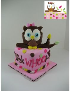 Owl cake, cuppies, cookies,  Look Whooo\'s 1 By seedrv on CakeCentral.com