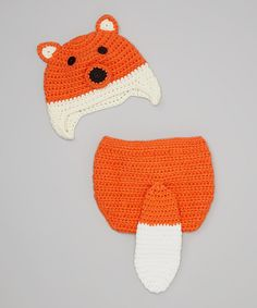 Loving this Orange Fox Crocheted Diaper Cover & Earflap Beanie - Infant on #zulily! #zulilyfinds