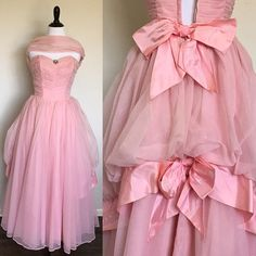 Pink Frosting Gown | 1950s Vintage Strapless Pink Chiffon Gown with Double Bow Bustle, Brooch, + Wrap | Size S/M