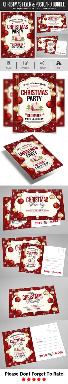 Christmas Party Flyer & Postcard Bundle by afjamaal