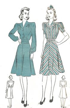 "Vintage 1940's Sewing Pattern tailored Day Dress Rare B30"" WWII WW2 #Advance"