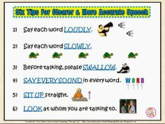 Twin Sisters Speech & Language Therapy: 6 Speech Tips To Clearer Speech & Speech Pacing Boards. Pinned by SOS Inc. Resources. Follow all our boards at pinterest.com/sostherapy/ for therapy resources.