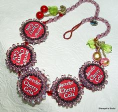 Bottled Cherries Necklace Bead Embroidery Necklace  Now by 4uidzne, $110.00