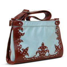 Susan Nichole Vegan Handbag Style #150 - Gia in Icy Blue & Cognac