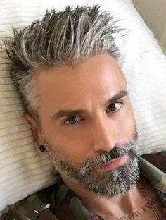 Handsome Gray Haired Man Men S Hair Grey Hair Men