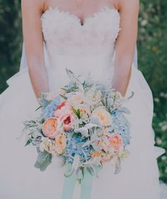 pinterest hydrangea wedding bouquet blue and peach - Google Search