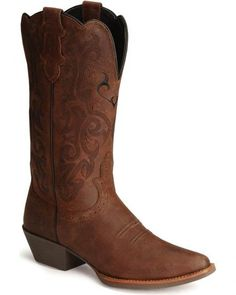 One day ♡ Justin Stampede Western Cowgirl Boots with Rubber Sole - Snip Toe