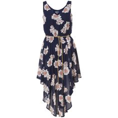 Navy & Pink Floral Print Waterfall Hem Midi Dress
