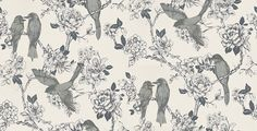 Nightingale Silk (1617/025) - Prestigious Wallpapers - An elegant and bold wallpaper design featuring stylised birds on a trailing floral background. Shown here in off white with foil detailing.Other colourways are available. Please request a sample for a true colour match. Paste-the-wall product.