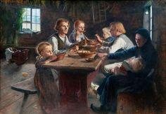 """Wendla """"Venny"""" Irene Soldan-Brofeldt (1863-1945) Supper at a Finnish farmhouse 1892"""