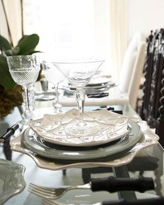 Juliska dinnerware - Jardins Du Monde Alcazar Dessert Plate; Berry & Thread Ice Blue Dinner Plate & Whitewash Scallop Charger; Graham Wine Goblet & McCleary Martini Glass; Black Bamboo Flatware