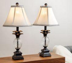 Delightful Pineapple Table Lamps Vintage For Bedroom Buffet Bronze Desk Set Of 2  Antiqued