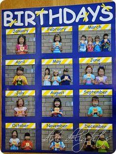 Education/Kindergarten/Preschool Classroom Birthday Picture Chart Free Printable How To Choose The R Classroom Organisation, Classroom Displays, Classroom Management, Daycare Organization, Class Displays, Book Displays, Library Displays, Diy Classroom Decorations, Kindergarten Classroom Decor