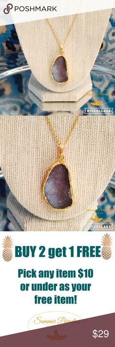 💠NWT Gold Plated Druzy Necklace ❤️️BUY 2 get 1 FREE $10 & under item!❤️️ Stunning shades of blue gold plated Druzy necklace, 20 inches in length. Pendant size is 1.4 inches x 0.8 inches.                                                                    💠Bundle to Save 15% $$$.                                           💠FREE GIFT with every purchase over $10!             TAGS: Druzy necklace Summer Paradise Jewelry Necklaces