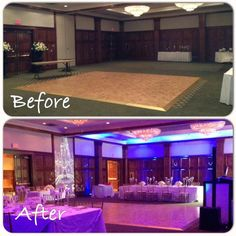 Our Wedding Reception Decor before and after. It was a Disney Fairytale Themed Wedding. The room was truly magical from the blue uplighting to the gorgeous long tables with flowers and different height floating candles to the projected cinderella's castle with our names and wedding date on the wall. It was a wedding fit for a princess!