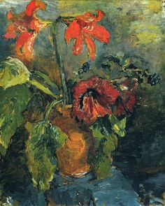 Dionyssos: For the Austrian Oscar Kokoschka (1886-1980), even a flower, seems to be laden with meaning and passion. For Kokoschka dynamic brush marks were an essential characteristic of Expressionism.