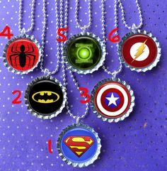 Super Hero party bottle cap necklace Party Favor pack by ThatRocks, $12.00