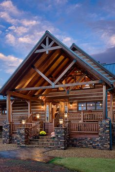 log homes landscaping front entrance pictures | Exterior, vertical, front porch and entry at twilight, DeSocio ...