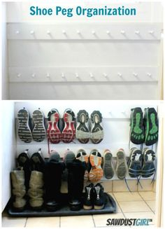Coat Hooks for Shoe Storage: Drop a row of hooks down to the floor to finally clear your entryway of everyone's dirty sneakers.